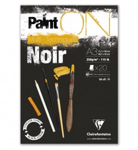 Blok Clairefontaine Paint On Multi-Techniques 250 g/m2 - Black A3 - 20 ark.