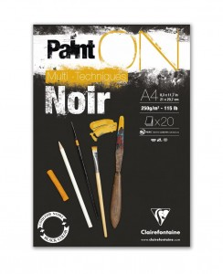 Blok Clairefontaine Paint On Multi-Techniques 250 g/m2 - Black A4 - 20 ark.